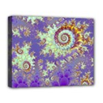 Sea Shell Spiral, Abstract Violet Cyan Stars Deluxe Canvas 20  x 16  (Framed)