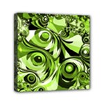 Retro Green Abstract Mini Canvas 6  x 6  (Framed)