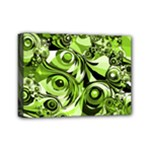 Retro Green Abstract Mini Canvas 7  x 5  (Framed)