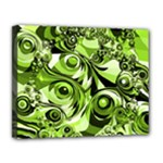 Retro Green Abstract Canvas 14  x 11  (Framed)