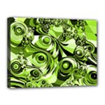 Retro Green Abstract Canvas 16  x 12  (Framed)