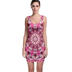 Twirling Pink, Abstract Candy Lace Jewels Mandala Bodycon Dress by DianeClancy