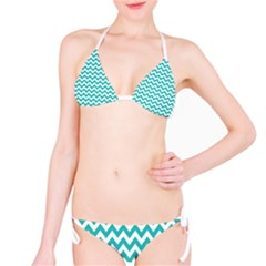 Turquoise And White Zigzag Pattern Bikini by Zandiepants