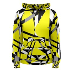 Yellow, Black And White Pieces Abstract Design Women s Pullover Hoodie by LalyLauraFLM