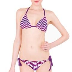 Purple Waves Pattern Bikini by LalyLauraFLM