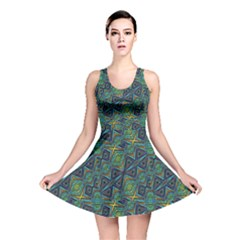 Tribal Style Colorful Geometric Pattern Reversible Skater Dress