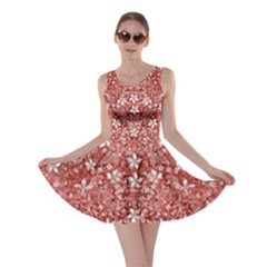 Flowers Pattern Collage In Coral An White Colors Skater Dress by dflcprintsclothing
