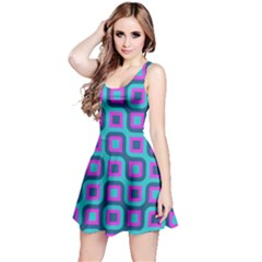 Blue Purple Squares Pattern Sleeveless Dress