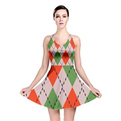 Argyle Pattern Abstract Design Reversible Skater Dress