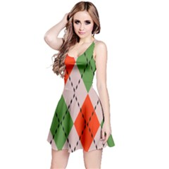 Argyle Pattern Abstract Design Sleeveless Dress