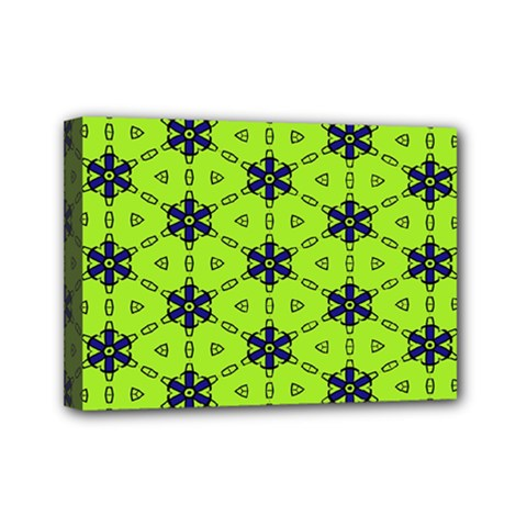 Blue Flowers Pattern Mini Canvas 7  X 5  (stretched) by LalyLauraFLM