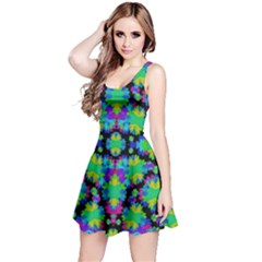 Multicolored Floral Print Geometric Modern Pattern Sleeveless Dress