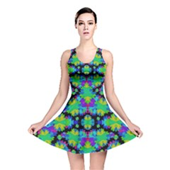 Multicolored Floral Print Geometric Modern Pattern Reversible Skater Dress