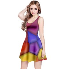 3d Colorful Shapes Sleeveless Dress by LalyLauraFLM