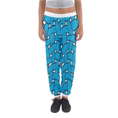 Blue Distorted Weave Women s Jogger Sweatpants by LalyLauraFLM