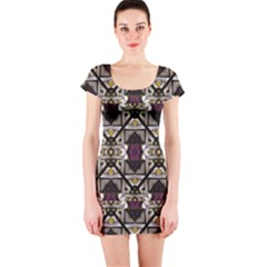 Abstract Geometric Modern Seamless Pattern Short Sleeve Bodycon Dress by dflcprintsclothing