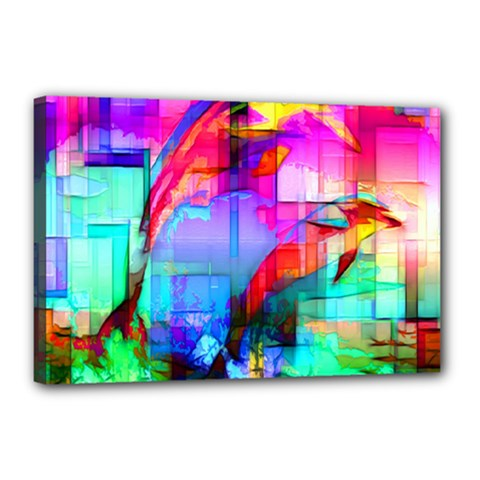 Tim Henderson Dolphins Canvas 18  X 12  (framed) by TheWowFactor