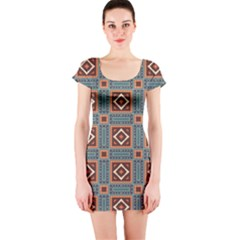 Squares Rectangles And Other Shapes Pattern Short Sleeve Bodycon Dress by LalyLauraFLM