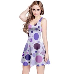 Purple Awareness Dots Sleeveless Dress