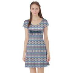 Aztec Style Pattern In Pastel Colors Short Sleeve Skater Dress by dflcprintsclothing