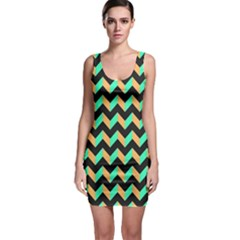 Neon And Black Modern Retro Chevron Patchwork Pattern Bodycon Dress by creativemom