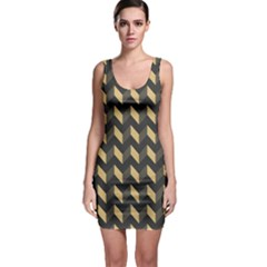 Tan Gray Modern Retro Chevron Patchwork Pattern Bodycon Dress by creativemom