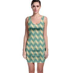 Mint Modern Retro Chevron Patchwork Pattern Bodycon Dress by creativemom