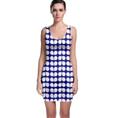 Blue And White Leaf Pattern Bodycon Dress by creativemom