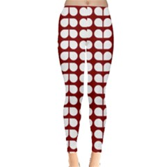 Red And White Leaf Pattern Leggings  by creativemom