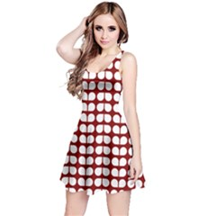 Red And White Leaf Pattern Sleeveless Dress