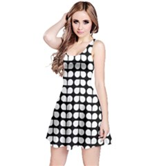 Black And White Leaf Pattern Sleeveless Dress