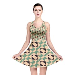 Brown Green Rectangles Pattern Reversible Skater Dress by LalyLauraFLM