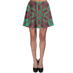 Green Tribal Star Skater Skirt by LalyLauraFLM
