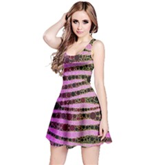 Hot Pink Black Tiger Pattern  Sleeveless Dress