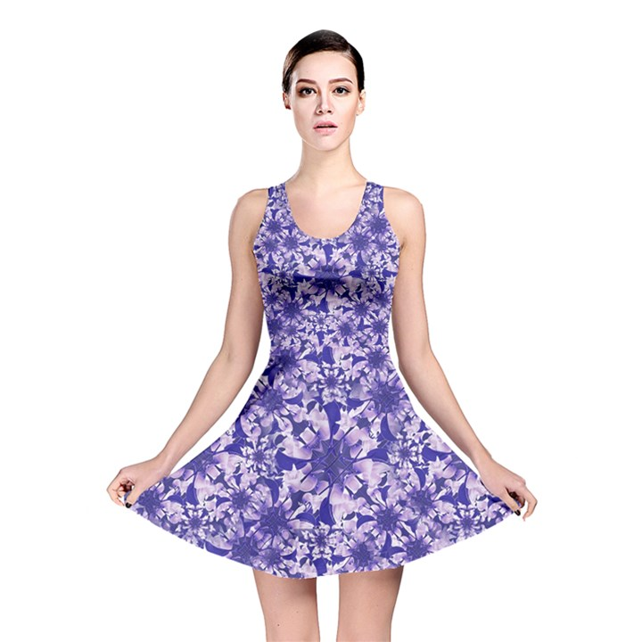 Decorative Floral Print Reversible Skater Dress