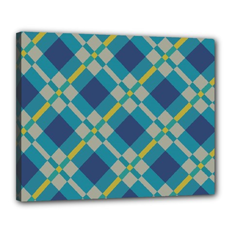 Squares And Stripes Pattern Canvas 20  X 16  (stretched) by LalyLauraFLM