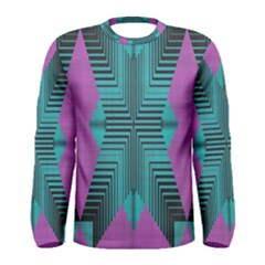 Tribal Purple Rhombus Men Long Sleeve T-shirt by LalyLauraFLM