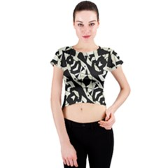 Black And White Print Crew Neck Crop Top by dflcprintsclothing