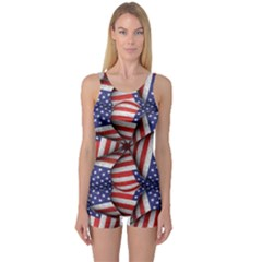 4th Of July Modern Pattern Print Women s Boyleg One Piece Swimsuit by dflcprintsclothing