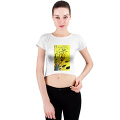 Yellow Dream Crew Neck Crop Top by pwpmall