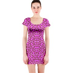 Florescent Pink Animal Print  Short Sleeve Bodycon Dress