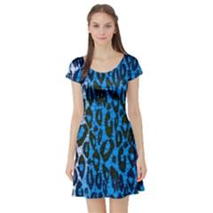 Florescent Blue Cheetah  Short Sleeve Skater Dress by OCDesignss