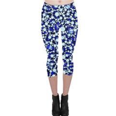 Bright Blue Cheetah Bling Abstract  Capri Leggings  by OCDesignss