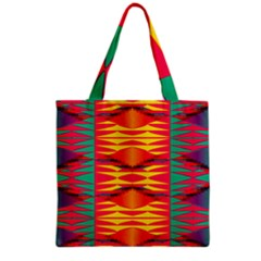 Colorful Tribal Texture Grocery Tote Bag by LalyLauraFLM