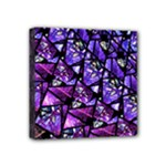 Blue purple Glass Mini Canvas 4  x 4  (Framed)