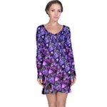 Blue purple Glass Long Sleeve Nightdress