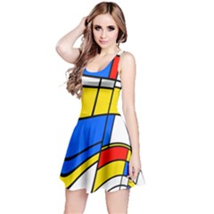 Colorful Distorted Shapes Sleeveless Dress by LalyLauraFLM