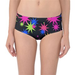 Colorful Stars Pattern Mid Waist Bikini Bottoms by LalyLauraFLM