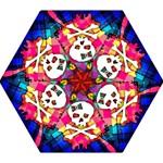 Rainbow Plaid Skull Mini Folding Umbrella