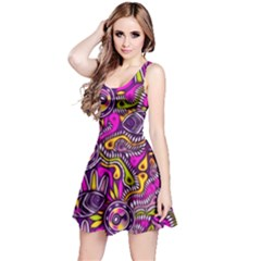 Purple Tribal Abstract Fish Reversible Sleeveless Dress